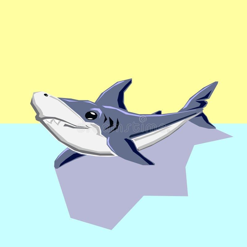 Воплощение значка логотипа акулы Tinylodon плоско иллюстрация штока