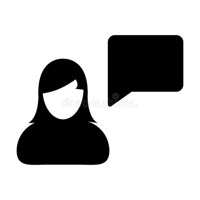 Воплощение профиля женского человека вектора значка Ч.З.В. с символом пузыря речи для обсуждения и информация в плоском глифе цве иллюстрация штока