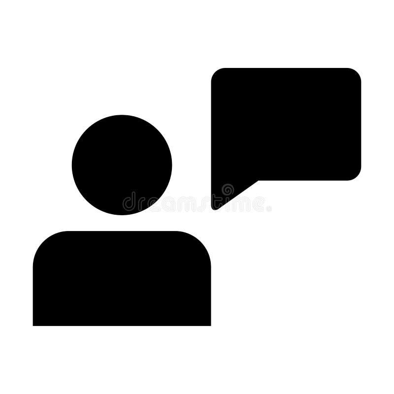 Воплощение профиля мужск человека вектора значка клиента с символом пузыря речи для обсуждения и информация в плоском глифе цвета иллюстрация штока