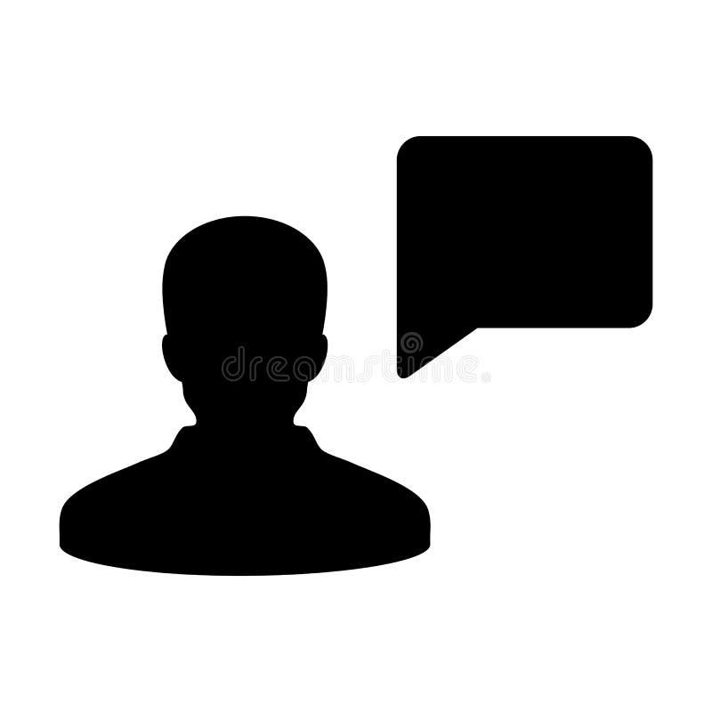 Воплощение профиля мужск человека вектора значка обсуждения с символом пузыря речи для обсуждения и информация в плоском глифе цв иллюстрация вектора