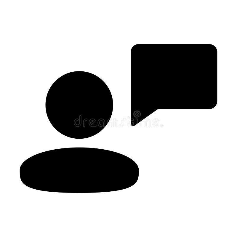 Воплощение профиля мужск человека вектора значка сообщения с символом пузыря речи для обсуждения и информация в плоском глифе цве иллюстрация штока