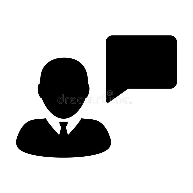 Воплощение профиля мужск человека вектора значка форума с символом пузыря речи для обсуждения и информация в плоском глифе цвета иллюстрация вектора