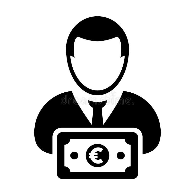 Воплощение профиля персоны потребителя вектора значка денег мужское с символом валюты знака евро для кренить и финансы в плоском  бесплатная иллюстрация