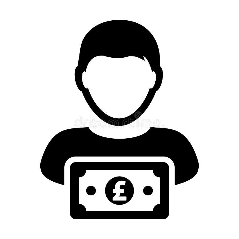 Воплощение профиля человека потребителя вектора значка знака английского фунта мужское с символом денег валюты для дела банка и ф иллюстрация вектора