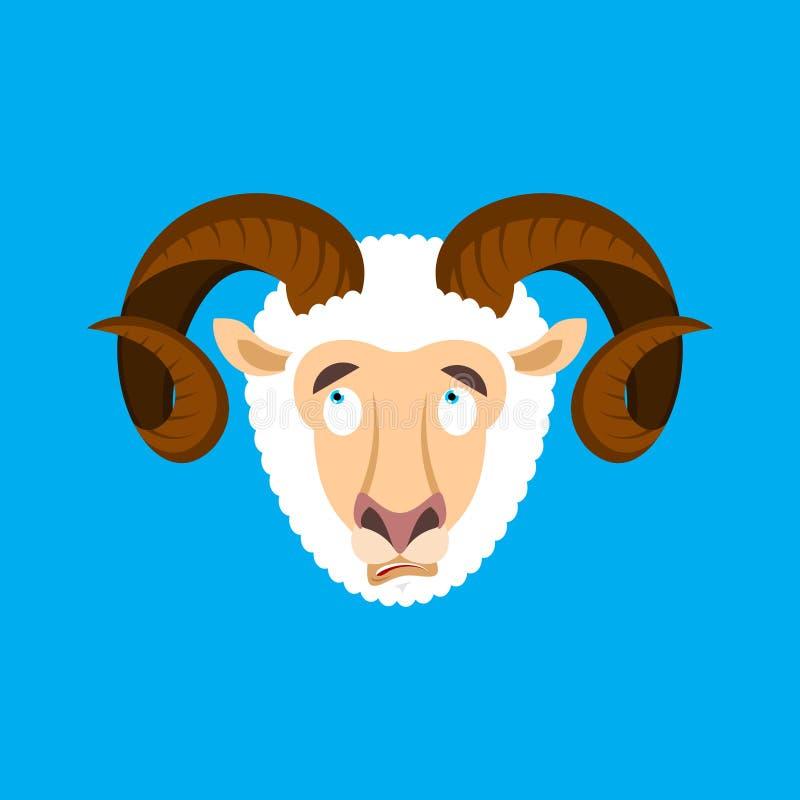 Воплощение стороны emoji Ram confused Овца озадачиванные эмоции далеко иллюстрация вектора