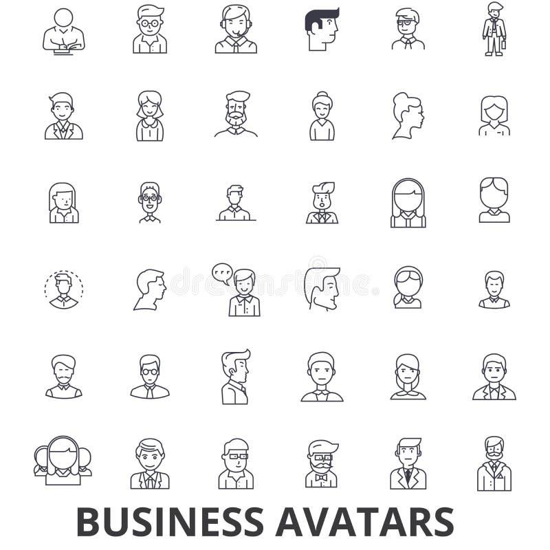 Воплощения дела, бизнесмен, коммерсантка, команда, группа, люди, линия потребителей значки Editable ходы Плоский дизайн иллюстрация штока