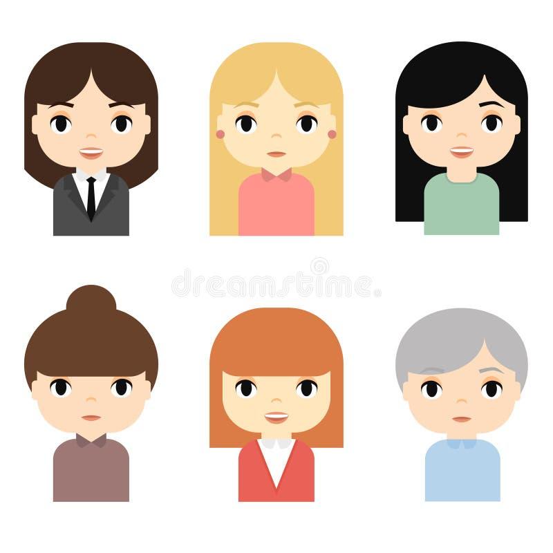 Воплощения женщины установленные с усмехаясь сторонами Женские персонажи из мультфильма Коммерсантка Красивые значки людей иллюстрация вектора