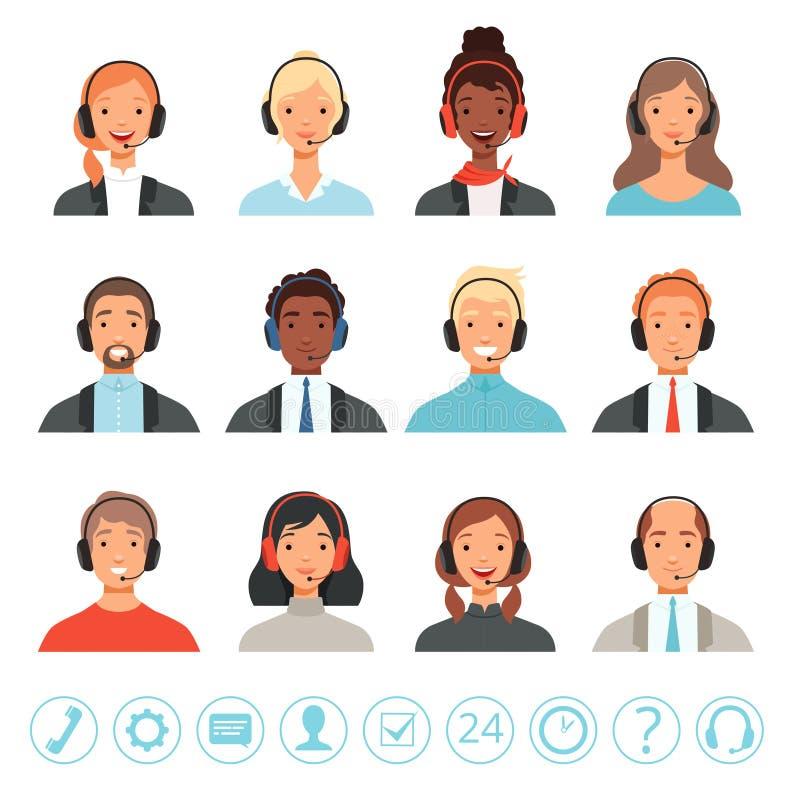 Воплощения операторов центра телефонного обслуживания Мужчина и женские изображения сети вектора менеджеров помощи контакта обслу бесплатная иллюстрация