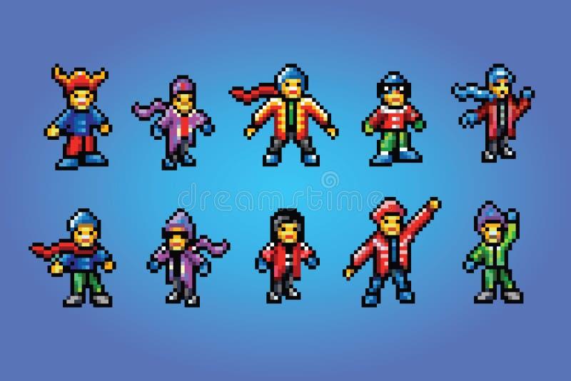 Воплощения стиля искусства пиксела болельщиков зимы иллюстрация штока