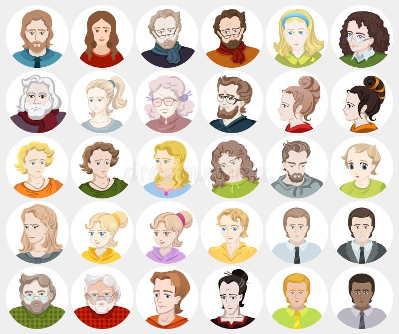 Воплощения - стороны ` s людей, userpics, потребители иллюстрация штока
