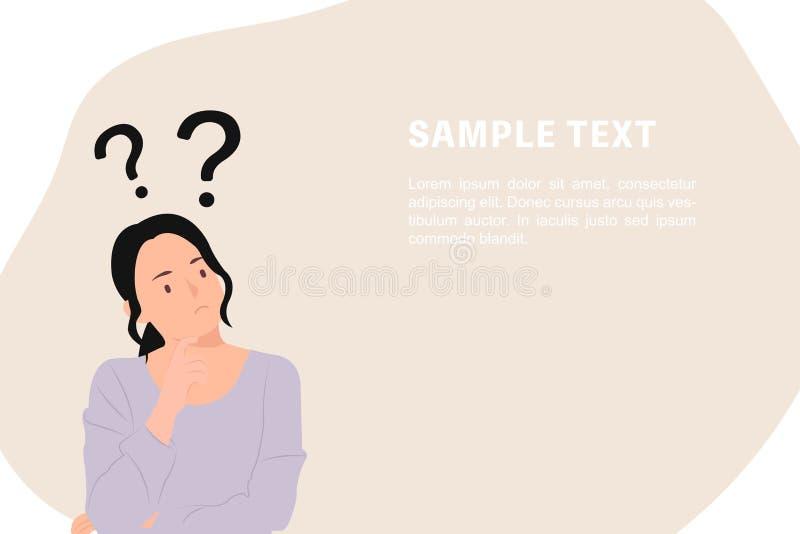 Вопросительные знаки шаблона знамени дизайна характера людей мультфильма с молодой азиатской женщиной во внимательном представлен иллюстрация штока