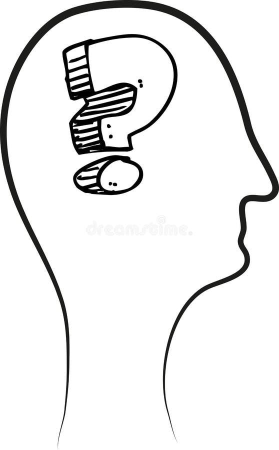 Вопросительный знак в голове - вектор иллюстрация штока