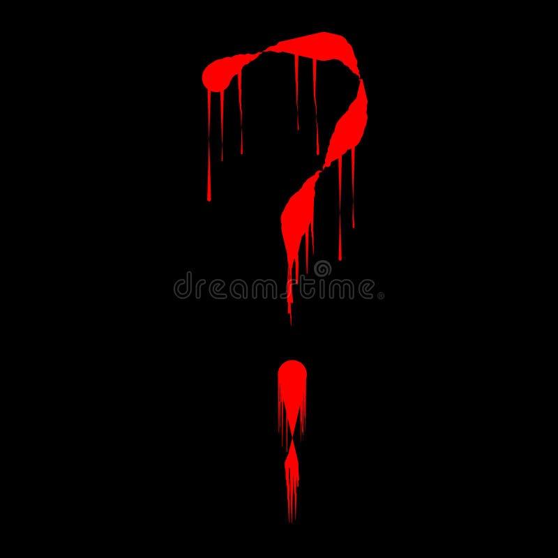 Вопросительный знак в капая стиле крови иллюстрация вектора