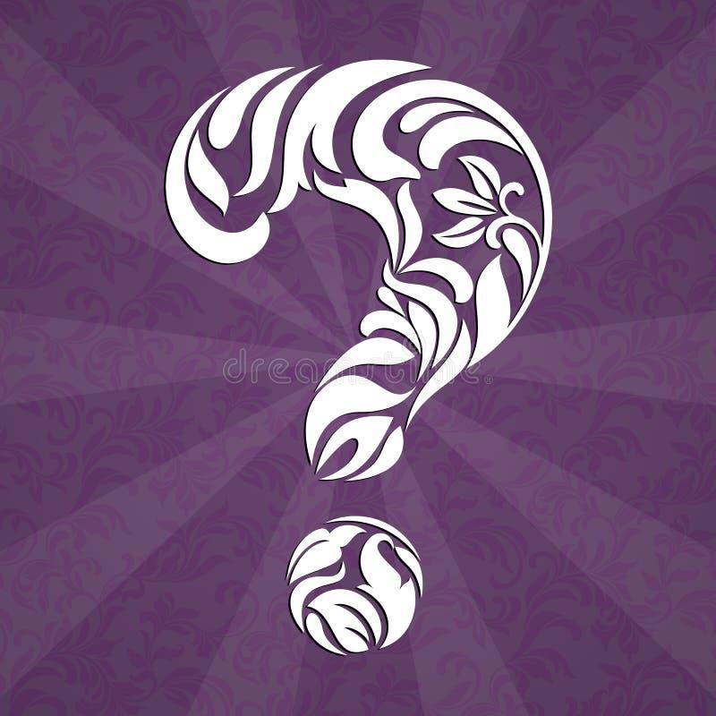 Вопросительный знак сделанный из флористического tracery на пурпурной предпосылке бесплатная иллюстрация
