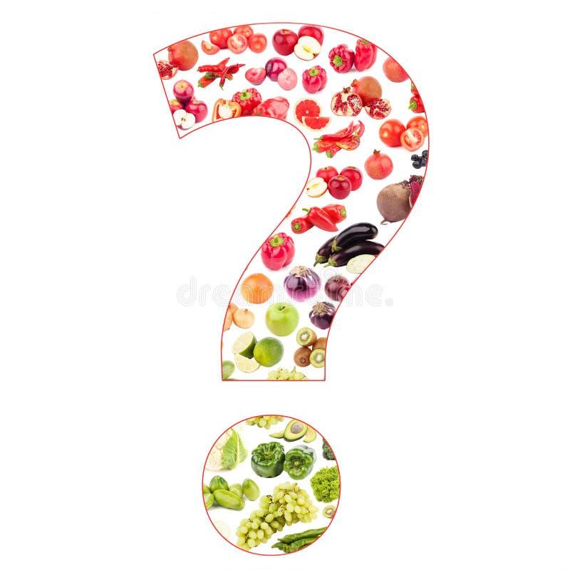 Вопросительный знак сделанный от изолированных фруктов и овощей, иллюстрация вектора