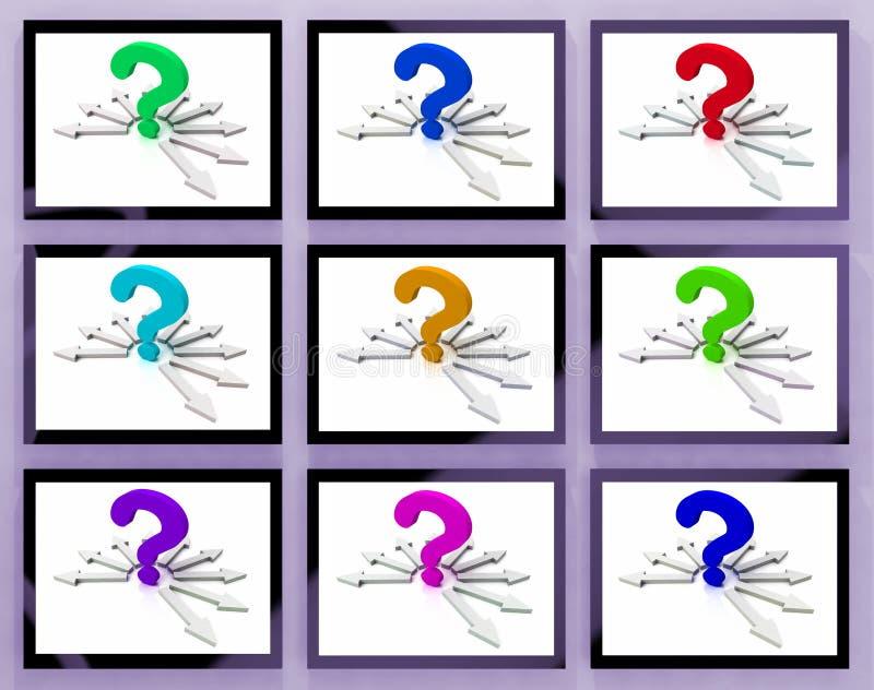 Вопросительные знаки на мониторах показывая спрошенные вопросы бесплатная иллюстрация