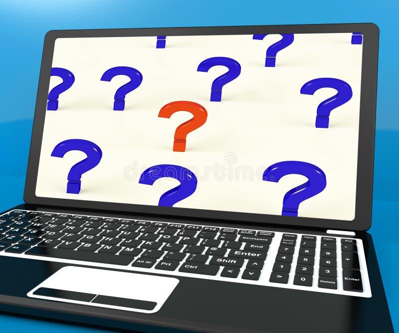 Вопросительные знаки на экране компьютера показывая интерактивную справку иллюстрация вектора