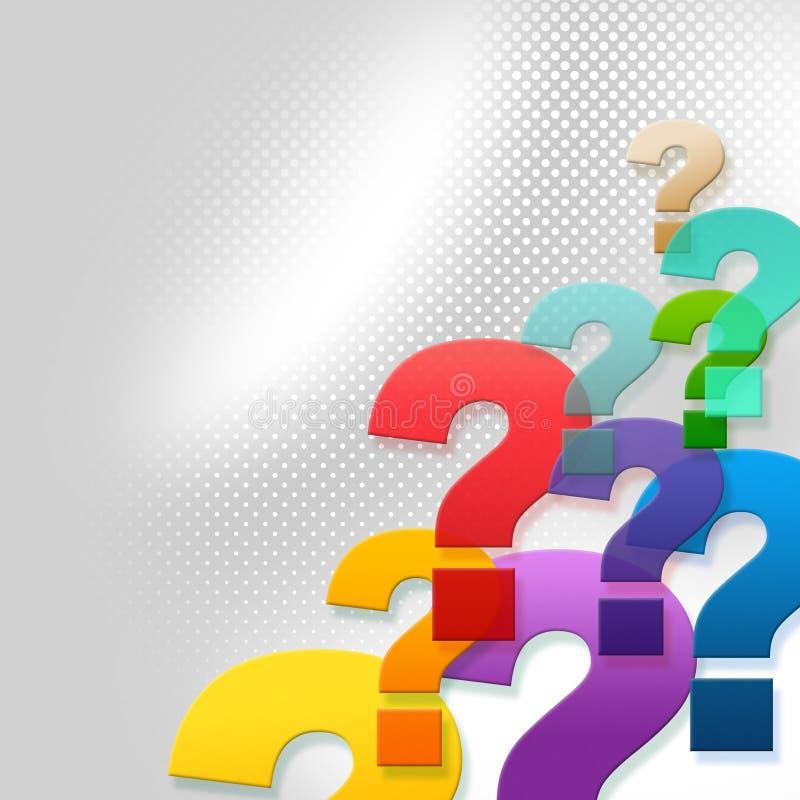 Вопросительные знаки представляют вопросы и ответы и ответ иллюстрация штока