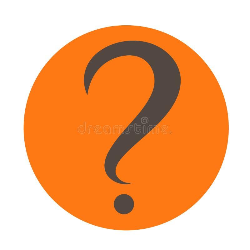 Вопросительный знак в оранжевом круге зацепляет икону Плоский стиль дизайна иллюстрация штока