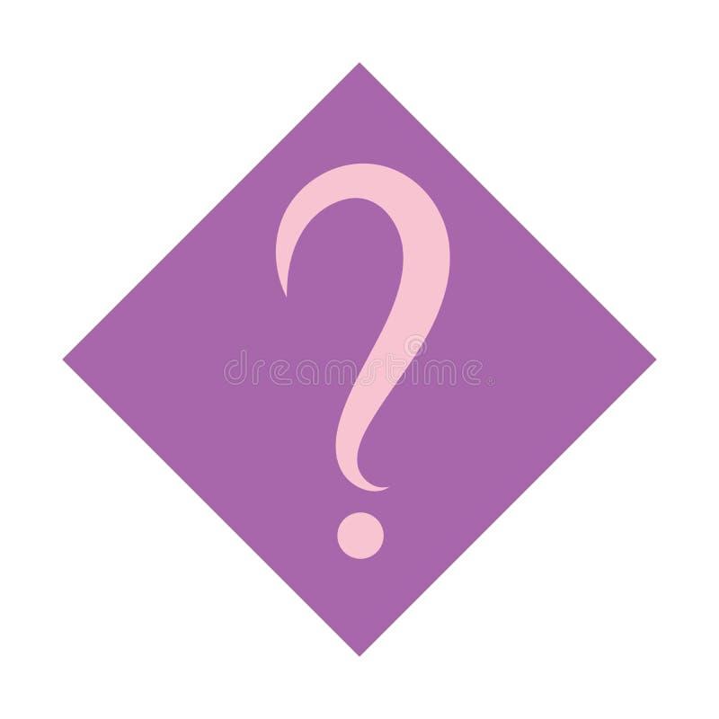 Вопросительный знак в фиолетовом квадрате зацепляет икону Плоский стиль дизайна бесплатная иллюстрация