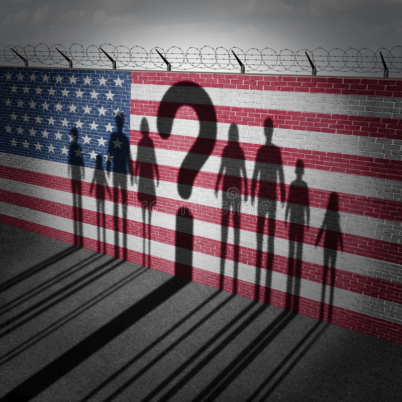 Вопрос о беженца Соединенных Штатов иллюстрация штока