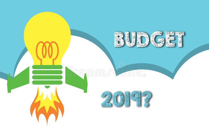 Вопрос о бюджета 2019 показа знака текста Схематическая оценка фото прихода и расхода для в следующем году взгляда сверху иллюстрация штока