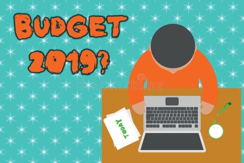 Вопрос о бюджета 2019 текста почерка Оценка смысла концепции прихода и расхода для в следующем году верхних детенышей взгляда бесплатная иллюстрация