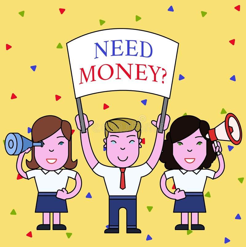 Вопрос о денег потребности текста почерка Смысл концепции спрашивая кто-то если ему, то наличные деньги или bouns получают людей  иллюстрация вектора