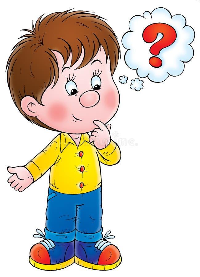 вопрос о мальчика иллюстрация вектора