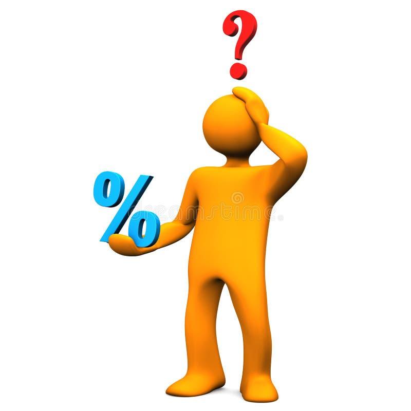Вопрос о процентов Manikin иллюстрация штока