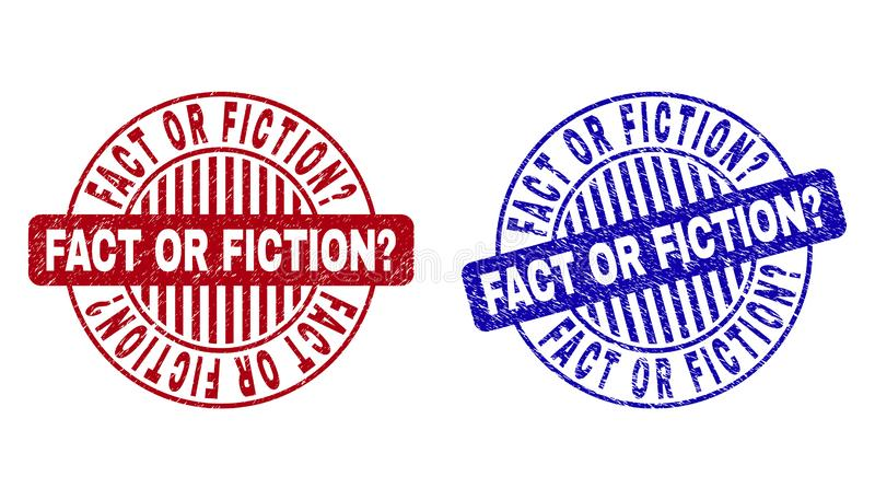 Вопрос о ФАКТА ИЛИ НЕБЫЛИЦЫ Grunge поцарапанный вокруг уплотнений печати иллюстрация штока