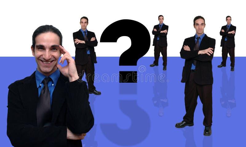 вопрос о 7 бизнесменов иллюстрация вектора