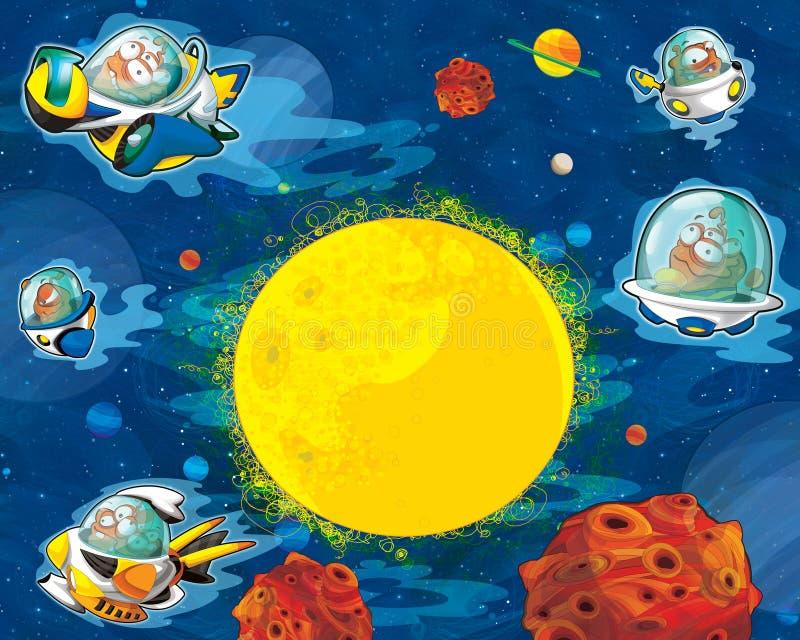 Вопрос чужеземцев шаржа - ufo - настроение звезды - космоса для текста - счастливое и смешное иллюстрация вектора