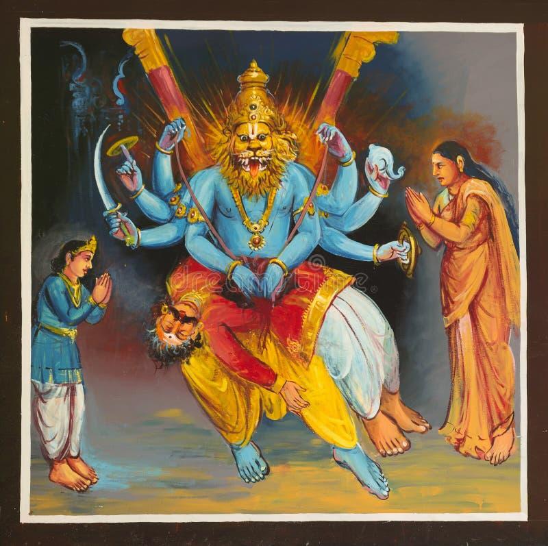 Воплощение на виске Mahalingeswarar, Narasimha лорда Shiva стоковое изображение rf