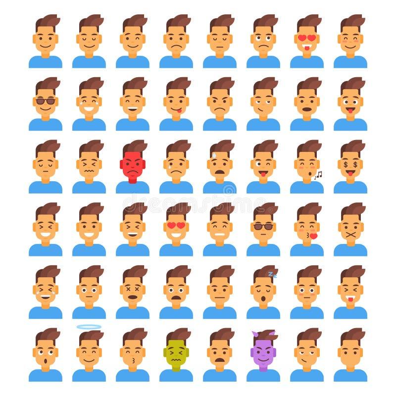 Воплощение различной эмоции мужчины значка профиля установленное, собрание стороны портрета шаржа человека иллюстрация вектора