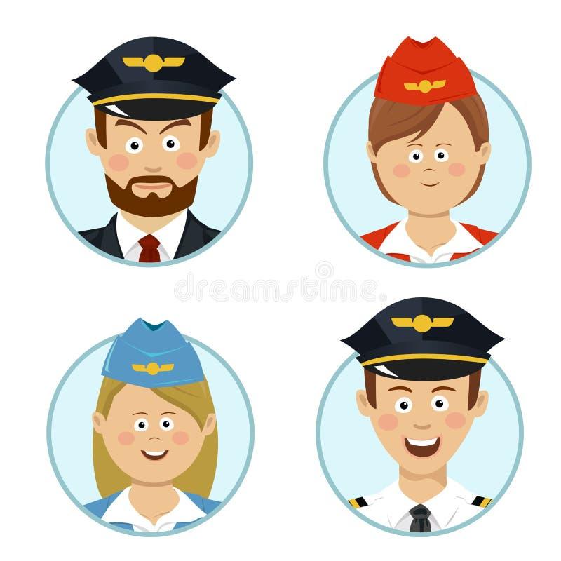 Воплощения людей дела пилотов и стюардесс профессиональные подписывают плоский значок бесплатная иллюстрация