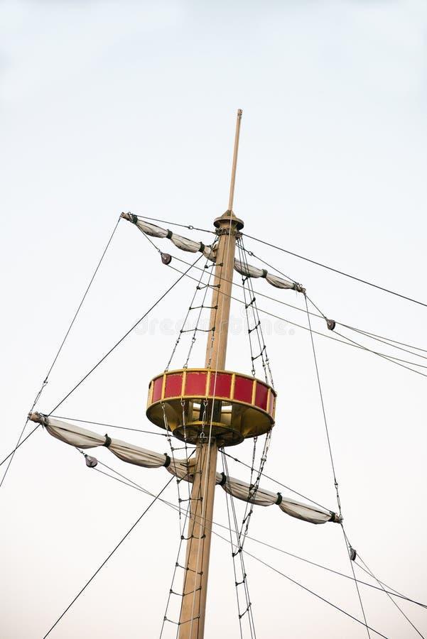 Ворона, гнездо ворон, пиратский корабль стоковые изображения