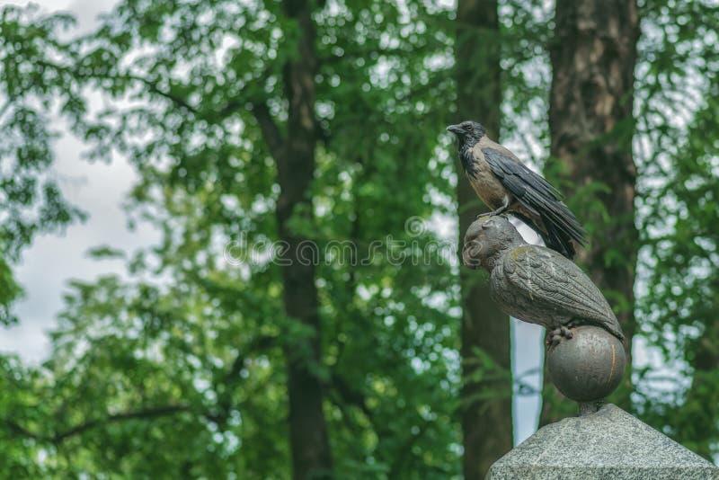 Ворона на каменном сыче серьезном Ukalovic надгробной плиты Кладбище Lazarevskoye Александра Nevsky Lavra, Санкт-Петербурга, Росс стоковое изображение