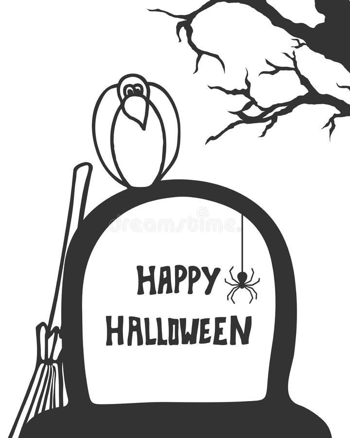 Ворона на могиле Handdrawn стиль характер halloween предпосылки изолированный над плакатом бесплатная иллюстрация