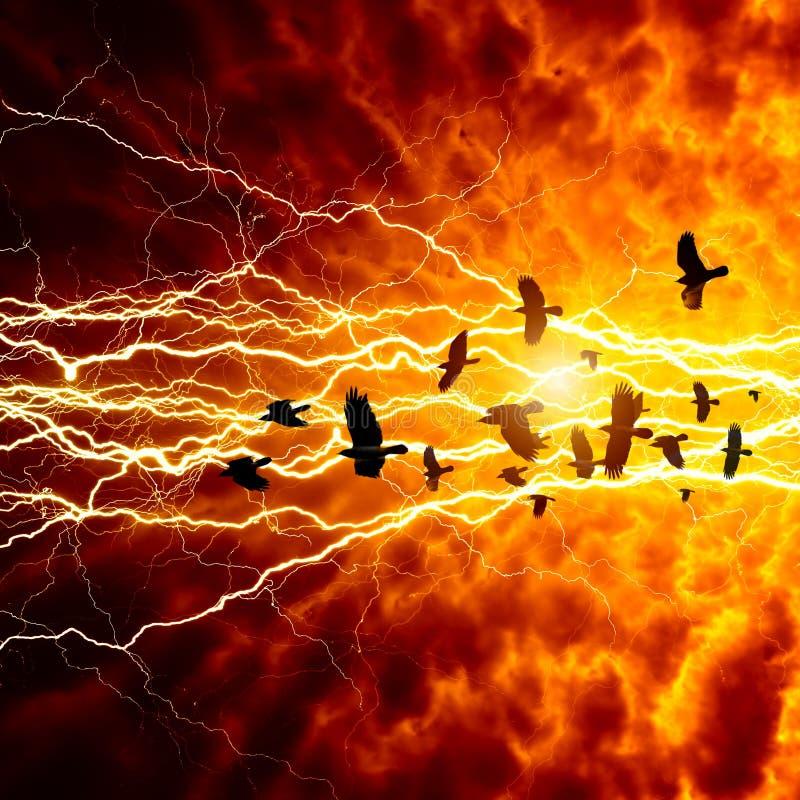 Вороны в темном небе иллюстрация штока