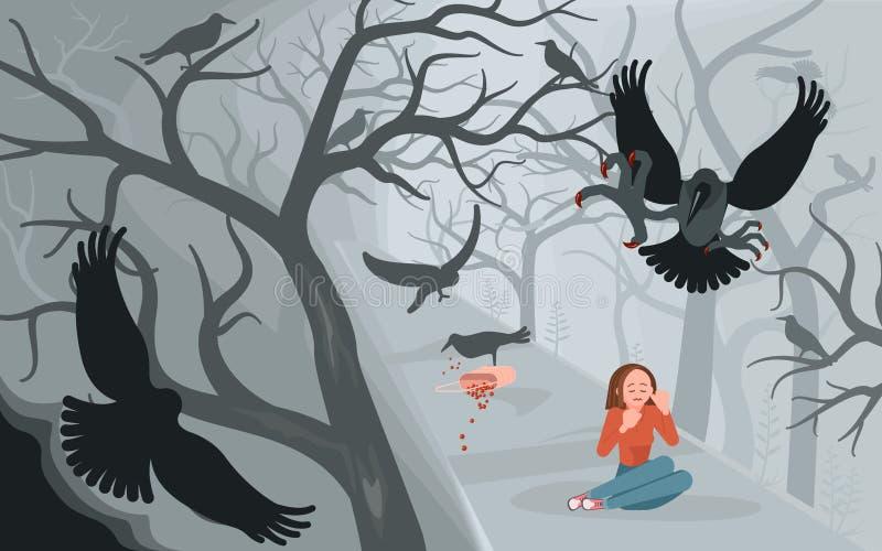 Вороны и сиротливая женщина на страшной предпосылке хеллоуина иллюстрация штока