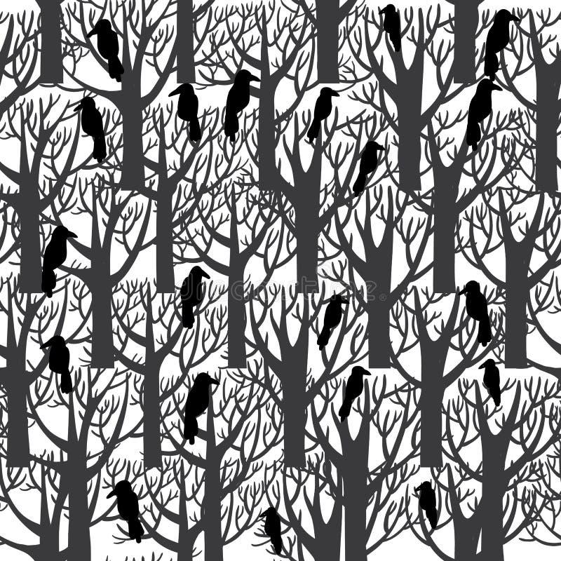 Вороны сидя на дереве безшовном иллюстрация штока