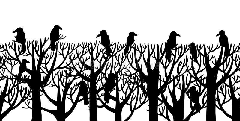 Вороны сидя на дереве бесплатная иллюстрация