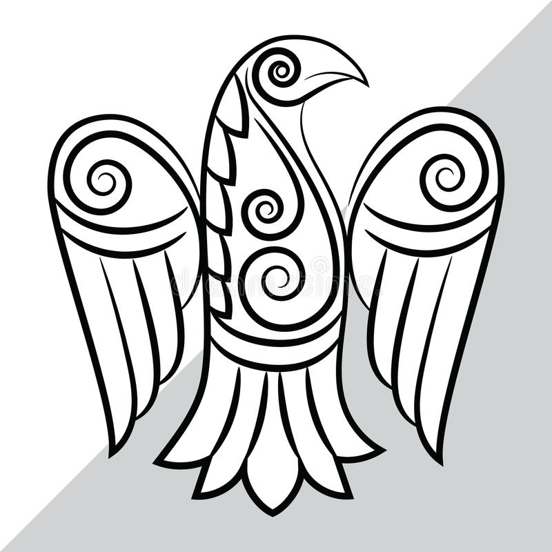 Ворон в кельтском, скандинавском стиле иллюстрация вектора