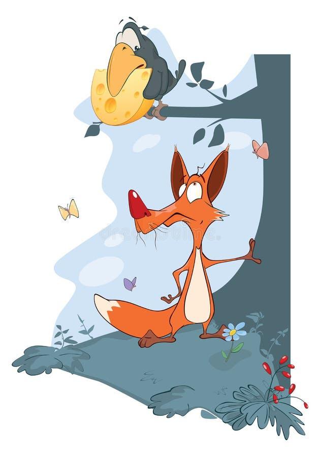 Ворон и Fox иллюстрация штока