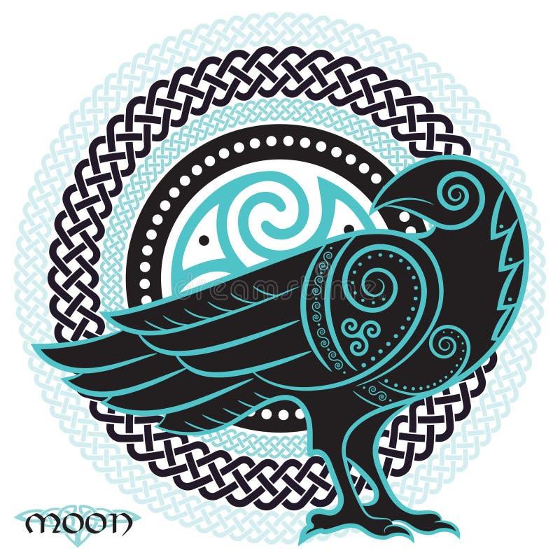 Ворон нарисованный вручную в кельтском стиле, на предпосылке кельтского орнамента луны иллюстрация вектора