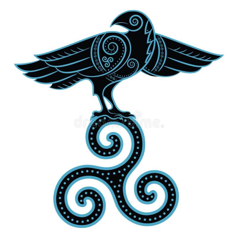 Ворон нарисованный вручную в кельтском стиле иллюстрация вектора