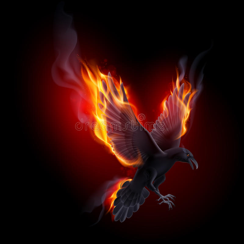 Ворон огня иллюстрация штока