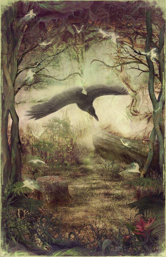 ворон пущи летания иллюстрация штока