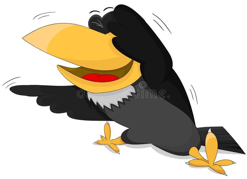 Ворон шаржа милый усмехаясь иллюстрация штока